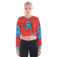Creature Forms Funny Monster Comic Cropped Sweatshirt by Nexatart