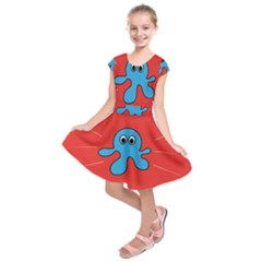 Creature Forms Funny Monster Comic Kids  Short Sleeve Dress by Nexatart