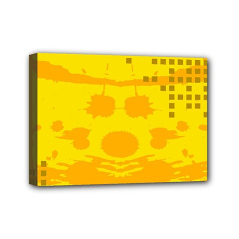 Texture Yellow Abstract Background Mini Canvas 7  X 5
