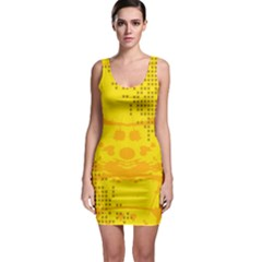 Texture Yellow Abstract Background Sleeveless Bodycon Dress by Nexatart