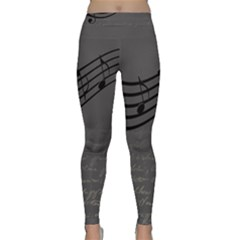 Music Clef Background Texture Classic Yoga Leggings
