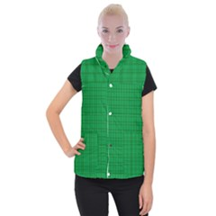 Pattern Green Background Lines Women s Button Up Puffer Vest by Nexatart