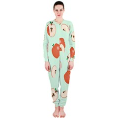 Apple Fruit Background Food Onepiece Jumpsuit (ladies)