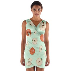 Apple Fruit Background Food Wrap Front Bodycon Dress