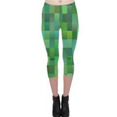 Green Blocks Pattern Backdrop Capri Leggings  by Nexatart
