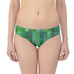 Green Blocks Pattern Backdrop Hipster Bikini Bottoms