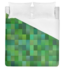 Green Blocks Pattern Backdrop Duvet Cover (queen Size) by Nexatart