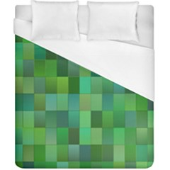 Green Blocks Pattern Backdrop Duvet Cover (california King Size) by Nexatart