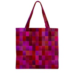 Shapes Abstract Pink Zipper Grocery Tote Bag