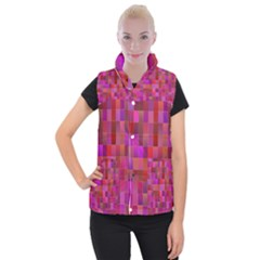 Shapes Abstract Pink Women s Button Up Puffer Vest by Nexatart