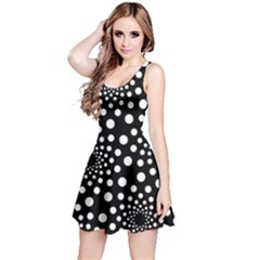 Dot Dots Round Black And White Reversible Sleeveless Dress by Nexatart