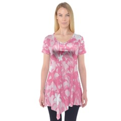 Plant Flowers Bird Spring Short Sleeve Tunic  by Nexatart