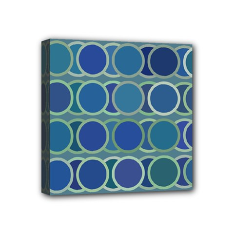 Circles Abstract Blue Pattern Mini Canvas 4  X 4  by Nexatart