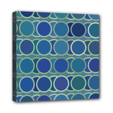 Circles Abstract Blue Pattern Mini Canvas 8  X 8