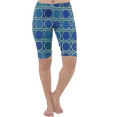 Circles Abstract Blue Pattern Cropped Leggings