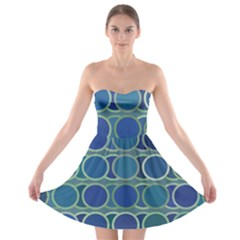 Circles Abstract Blue Pattern Strapless Bra Top Dress