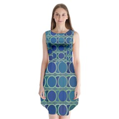 Circles Abstract Blue Pattern Sleeveless Chiffon Dress