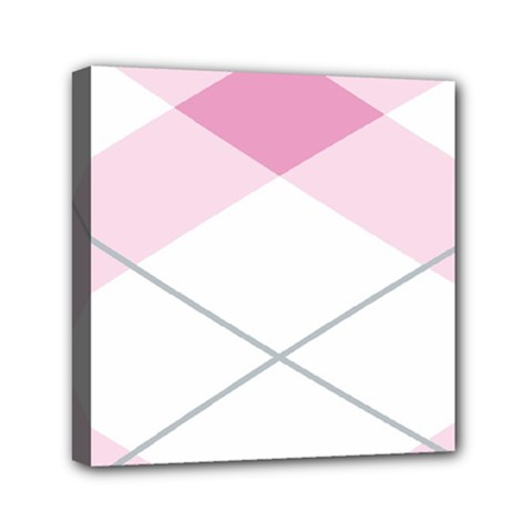 Tablecloth Stripes Diamonds Pink Mini Canvas 6  X 6