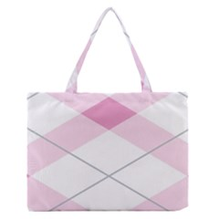 Tablecloth Stripes Diamonds Pink Medium Zipper Tote Bag by Nexatart