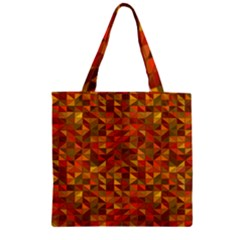 Gold Mosaic Background Pattern Zipper Grocery Tote Bag by Nexatart