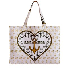 Anchor Heart Zipper Mini Tote Bag by Nexatart