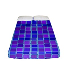 Background Mosaic Purple Blue Fitted Sheet (full/ Double Size) by Nexatart