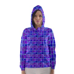 Background Mosaic Purple Blue Hooded Wind Breaker (women) by Nexatart