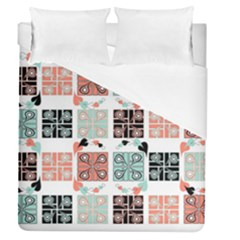 Mint Black Coral Heart Paisley Duvet Cover (queen Size) by Nexatart