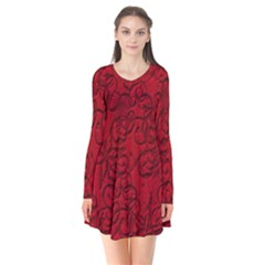 Christmas Background Red Star Flare Dress