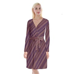 Stripes Course Texture Background Long Sleeve Velvet Front Wrap Dress by Nexatart