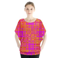 Pink Orange Bright Abstract Blouse by Nexatart