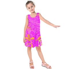 Spring Tropical Floral Palm Bird Kids  Sleeveless Dress