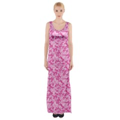 Shocking Pink Camouflage Pattern Maxi Thigh Split Dress by tarastyle