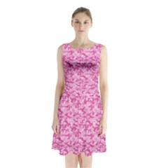 Shocking Pink Camouflage Pattern Sleeveless Chiffon Waist Tie Dress by tarastyle