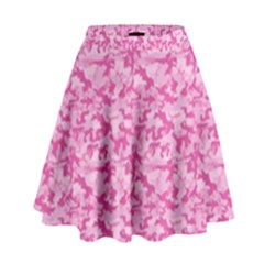 Shocking Pink Camouflage Pattern High Waist Skirt by tarastyle