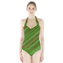 Stripes Course Texture Background Halter Swimsuit