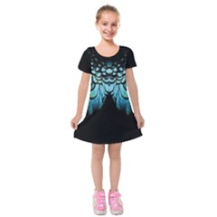 Blue And Green Feather Collier Kids  Short Sleeve Velvet Dress by cglightNingART