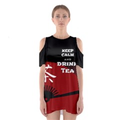 Keep Calm And Drink Tea - Dark Asia Edition Cutout Shoulder Dress by cglightNingART