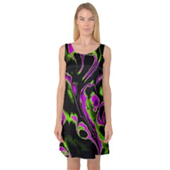 Glowing Fractal B Sleeveless Satin Nightdress by Fractalworld