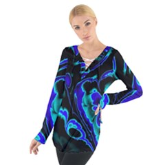 Glowing Fractal C Women s Tie Up Tee by Fractalworld