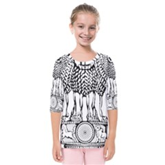 National Emblem Of India  Kids  Quarter Sleeve Raglan Tee