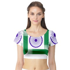Seal Of Indian State Of Jharkhand Short Sleeve Crop Top (tight Fit) by abbeyz71
