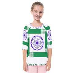 Seal Of Indian State Of Jharkhand Kids  Quarter Sleeve Raglan Tee
