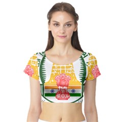 Seal Of Indian State Of Tamil Nadu  Short Sleeve Crop Top (tight Fit)