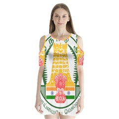 Seal Of Indian State Of Tamil Nadu  Shoulder Cutout Velvet  One Piece