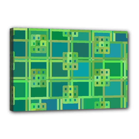 Green Abstract Geometric Canvas 18  X 12