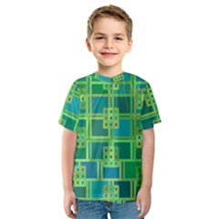 Green Abstract Geometric Kids  Sport Mesh Tee