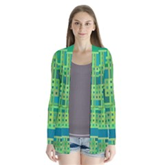 Green Abstract Geometric Cardigans
