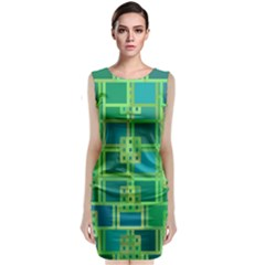 Green Abstract Geometric Sleeveless Velvet Midi Dress