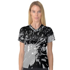 Art About Ball Abstract Colorful Women s V Neck Sport Mesh Tee